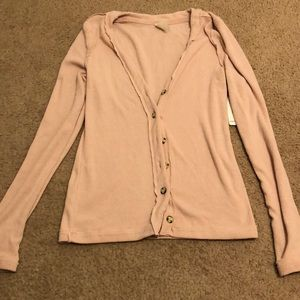 Free people ribbed cardigan button down sweater